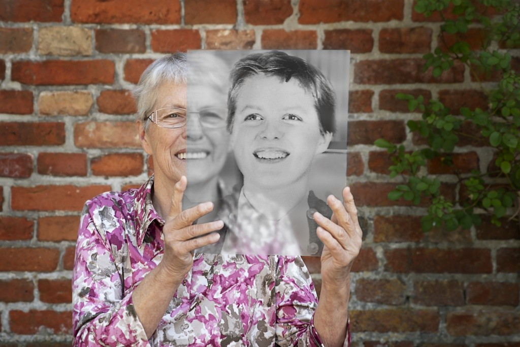 Now and then portraits of senior citizens