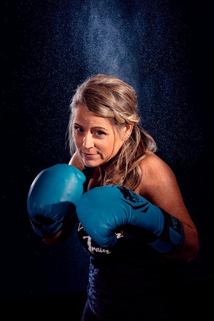 creative portrait of female boxer